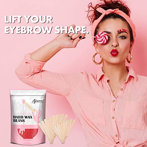 Wax Beads, Ajoura Hard Wax Beans for Hair Removal (All In One Body Formula) Moisturize Sensitive Skin Wax for Face, Bikini, Eyebrow, Legs, Underarm, 2lb Large Refill Film Wax Beads for Wax Warmer Kit