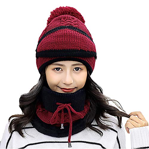 Vovomay_hat Winter Beanie Scarf for Womens Hats Circle Scarf Slouchy Skull Cap- Earmuffs Knit Hat Mask Scarf Hairball Warm Cap (Wine Red) -