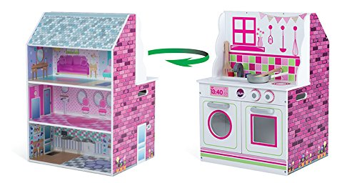 Plum 2-in-1 Wooden Kitchen and Dollhouse - Over 2 feet Tall with Kitchen Accessories