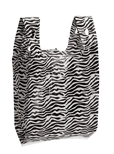 (Zebra Print Plastic T-Shirt Bags - Case of 1,000)