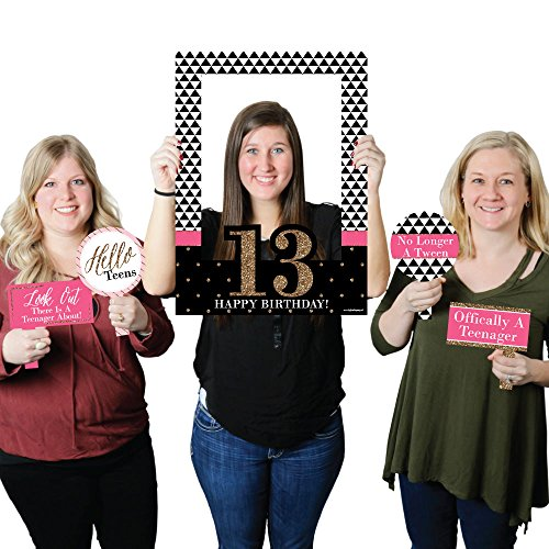 Chic 13th Birthday - Pink, Black and Gold - Birthday Party Photo Booth Picture Frame & Props - Printed on Sturdy Material