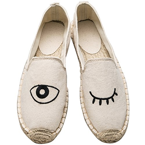 Beige Eyes Casual Espadrille Sneaker Women's Loafer Shoes Flat Canvas Fashion On Slip ONCEFIRST qPBgFfwc