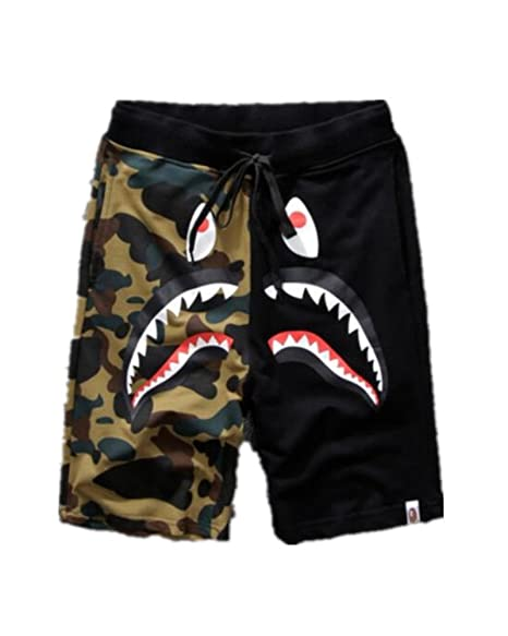 structural disablities vivid and great in style deft design Hot A Bathing Ape Japan Men's Bape Shark Jaw Shorts Pants Camo Print Color  Pants