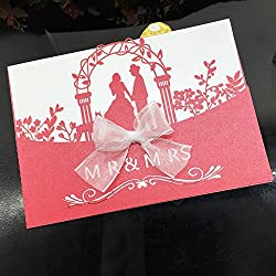 WOMHOPE® 50 Pcs - Mr & Mrs Wedding Invitation Hollow Laser Cut Lace Shimmer Party Invitations Cards Birthday Invitations Cards Wedding Favors (Red (White BLANK inner sheets))
