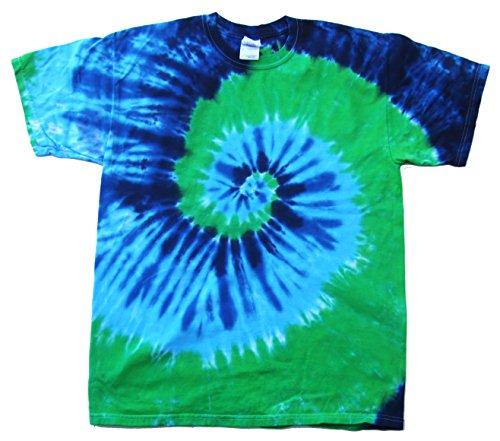 Rockin' Cactus Men's Tie Dye T-Shirt-Blue & Green Spiral-XL (Dye Fade T-shirt Tie)