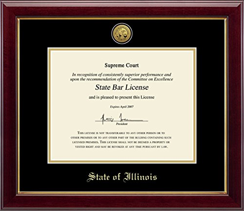 Church Hill Classics State Seal of Illinois Document Frame - Features Gold Engraved Medallion of Official State Seal - Perfect Frame for State Bar License