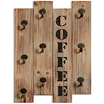 Rustic Vintage Kitchen Wall Storage Brown Wood Wall Mounted Coffee Mug  Hanger Rack and Tea Cup