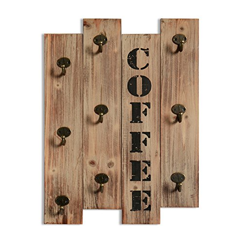 Rustic Vintage Kitchen Wall Storage Brown Wood Wall Mounted Coffee Mug Hanger Rack and Tea Cup Holder Storage Organizer with 9 Hooks (Holder Wall Utensil Mounted)