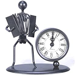 Berry President® Antique Hand Made Crafts Retro Style Desk & Shelf Clock Musician Statue Metal Modern Home Office Decoration Tabletop Display Ornament