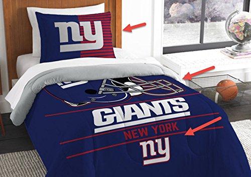 New York Giants Bedding Set Sham NFL 2 Piece Twin Size 1 Comforter 1 Sham Football Linen Bedroom Decor Imported for True Fans Draft