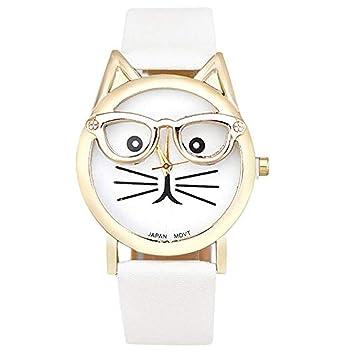 Babysbreath17 Correa del patrón del Gato de Dibujos Animados Chica analógico de Pulsera de Cuarzo Mujeres del Reloj de Pulsera de Cuero Ajustable Blanco: ...