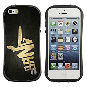 TopCaseStore Allround Rubber Case Hard Cover Protection Hybiid Defender Antishock for Apple iPhone 4s - Bang Hand Sign Gun