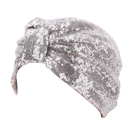Decou Sparkly Sequin Twist Pleated Hair Wrap Stretch Turban S232 (Silver)