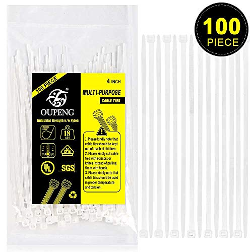 Multi-Purpose Nylon Zip Ties - (100 Piece) 4 Inch