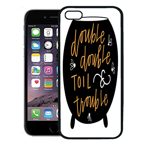 Semtomn Phone Case for iPhone 8 Plus case Cover,Orange Black Double Toil and Trouble Blackpot Cauldron Cursive Drawing,Rubber Border Protective Case,Black