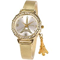 Wrist Watch Lady Women Girl Gold Mesh Stainless Steel Band SIBOSUN Eiffel Tower Pendant Crystal Quartz