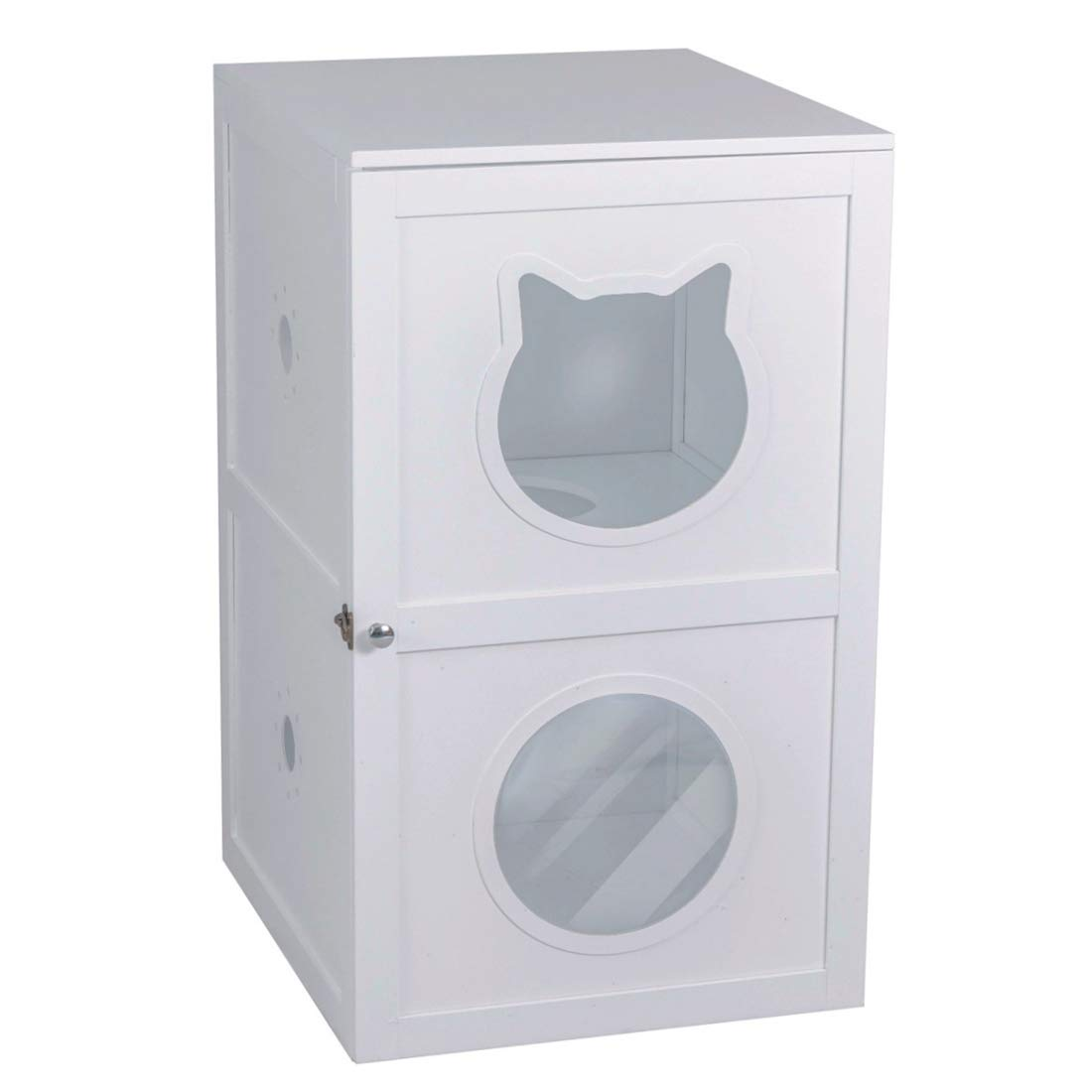 Good Life Double-Decker Indoor Pet Crate 2 Story Cat Litter Box Enclosure Furniture Cat House with Table Home Nightstand Large Box White Color