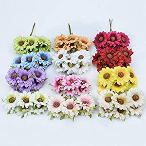 Tokyo Summer 6Pcs Silk Sunflower Bouquet Decorative Christmas Wreaths DIY Gifts Candy Box Fake Plants Artificial Daisy Flowers for Home Decor,Yellow 2