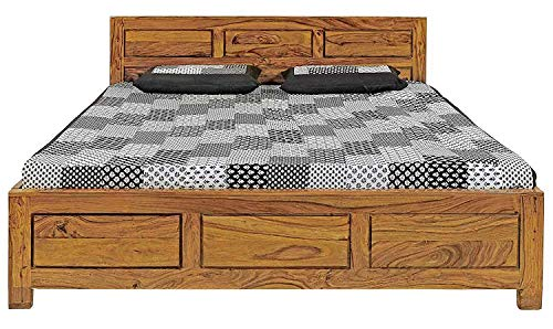 Woodstage Solid Wood King Size Bed with Storage Bedroom Furniture for Home  Teak Finish
