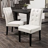 Christopher Knight Home 237695 Roland Leather Dining Chairs (Set of 2), Ivory