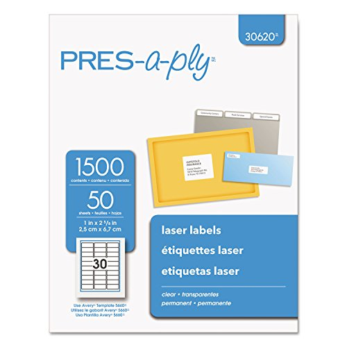 - Pres-a-ply Laser Address Labels, 1 x 2.83 Inches, Clear, Box of 1500 (30620)
