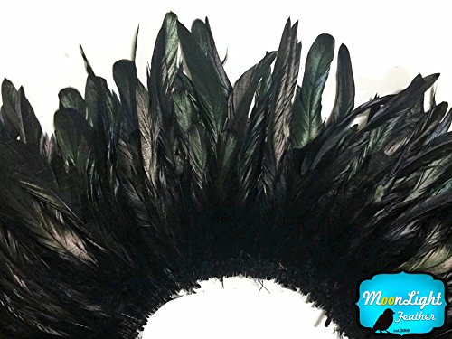 Rooster Feathers 1/2 Yard Black Strung Bleach Coque Tail Feathers