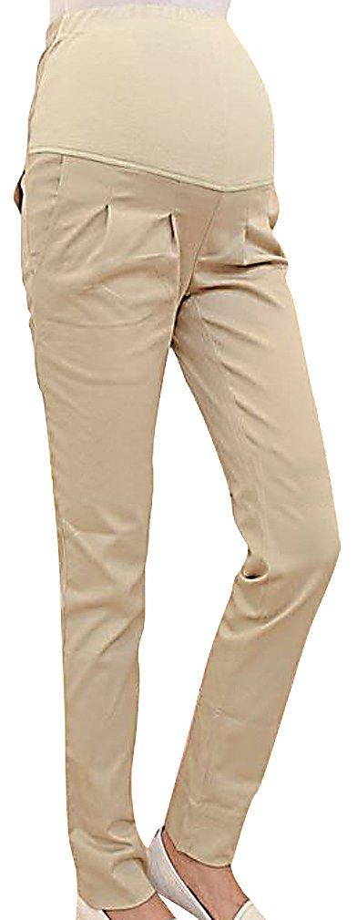 MIAMAMA Women's Maternity High Elastic Waist Comfortable Regular Fit Plain Pants, Khaki Large