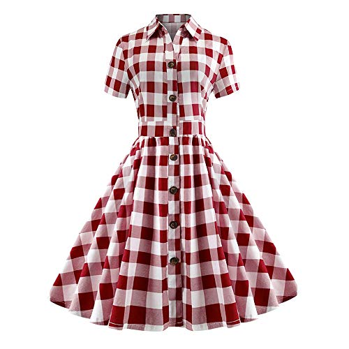 KCatsy Vintage Shirt Collar Plaid A Line Dress -