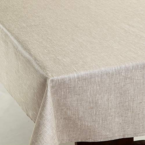 Amelie Michel Wipe-Clean French Tablecloth in Natural Linen | Authentic French Acrylic-Coated 100% Linen Fabric | Easy Care, Spill Proof [60
