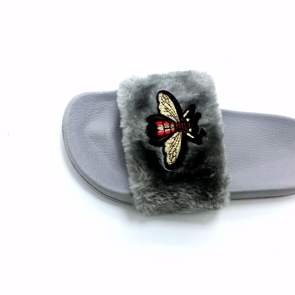 Amazon.com: VaThaStore Slippers Womens Slides New Bee Fashion Home Slippers Pink Fur Slippers Eu 36-41 Flip Flop Pantuflas De Mujer Ciabatte: Kitchen & ...