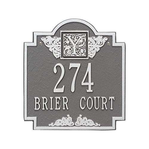 Monogram Standard Address Plaque Finish: Pewter and Silver