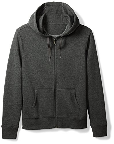 Amazon Essentials Men's Full-Zip Hooded Fleece Sweatshirt, Charcoal Heather, Medium
