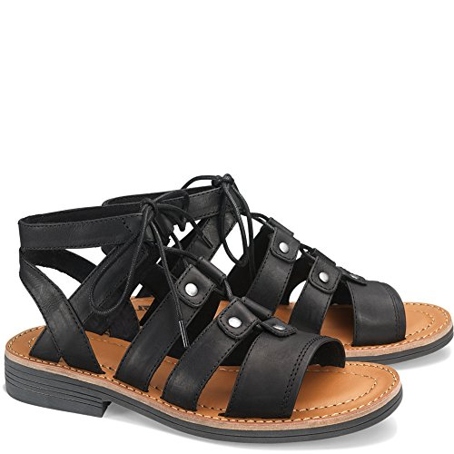 Caterpillar Women's Kobbi Lace Up Open Toe Leather Sandals Black (8.0M)