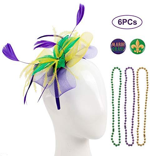 Felizhouse Sinamay Fascinator Hats Headband Tea Party Cocktail Headwear Pillbox Hat Kentucky Derby Wedding Headpiece (#1 Mardi Gras Beads Feather -