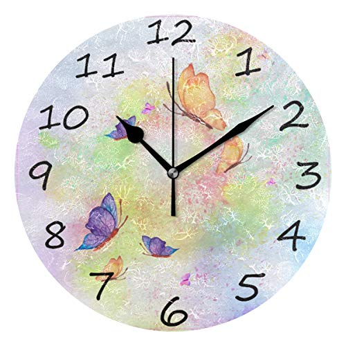 (Shiiny Wall Clock, Butterflies Painted 9.8 Inch Easy to Read Colorful Battery Operated Clock,for Bedroom,Living Room,Kitchen,Office)