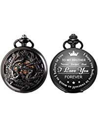 SIBOSUN Personalized Pocket Watch Engraved Back Case Mechanical to Brother Gift Birthday Dragon Phoenix