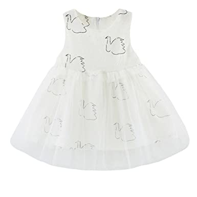 699f0dcedecf Ywoow Women's Dress Pageant Swan Printed Sundress Outfits 6-12 Months White