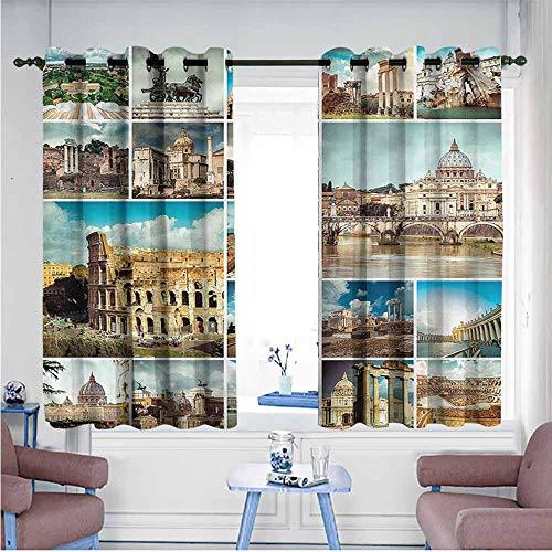 (VIVIDX Custom Curtains,Italian,Classic Mediterranean Town,Curtains for Living Room,W63x72L)