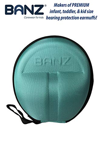 (Baby Banz Earmuffs CASE - Protective Premium Hard EVA Case - Holds BANZ Baby Size Earmuffs and Bluetooth Baby Headphones - Protect Children Hearing Earmuffs - Travel Case (Aqua))