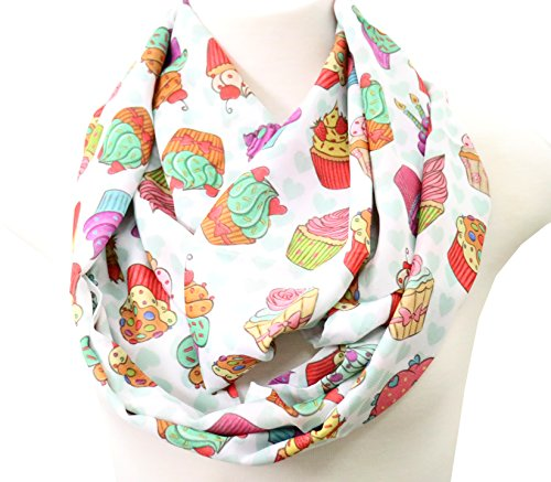 (Handmade cupcake scarf muffin scarf birthday gift for her for baker chef cake decorator)