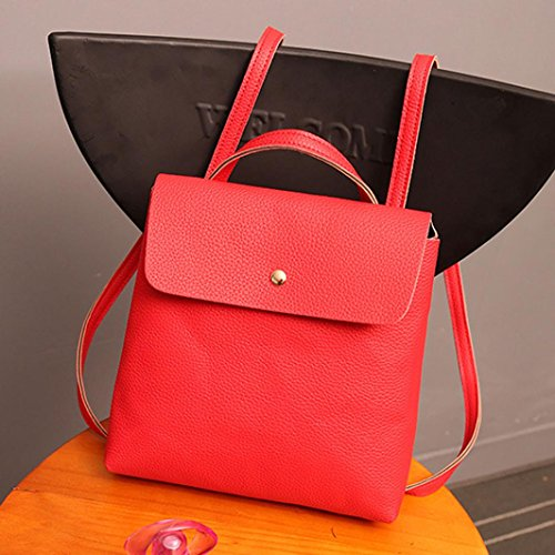 Satchel Bags Red Fashion Purse Bag School Rucksack Inkach Backpack Leather Womens Travel wxqPpw0Yg