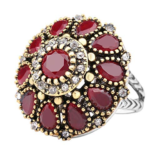 MARRLY.H Flower Crystal Wedding Rings for Women Vintage Look Round Color Gold Mosaic Red Resin Turkey Jewelry Red 7