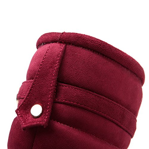 Blend Red Boots Toe Mid AgooLar wedge Top Materials Round Women's Pull On Closed SFBxH4q