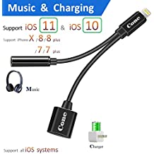 7 / 7 plus / 8 / X adapter, (Support iOS 10.3, 11)Cone 2 in 1 Lightning Adapter and Charger, Lightning to 3.5mm Aux Headphone Jack Audio Gender Adapter for iphone X, 8, 8 plus, 7(Black)