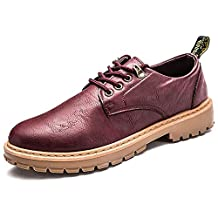 DIMAOLV Men's Shoes Leatherette Spring Fall Comfort Sneakers for Work & Safety Black Yellow Brown Burgundy