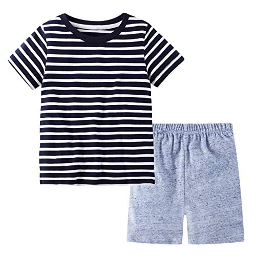 BIBNice Boys Clothes Sets Toddler Outfits Cotton Tee and Shorts Set Stripe 5t