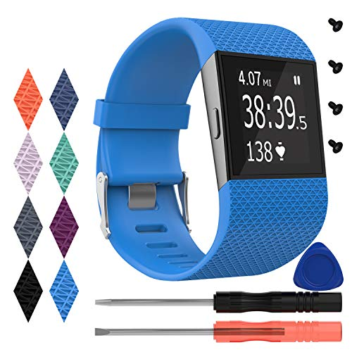 KingAcc Fitbit Surge Bands, Silicone Accessory Replacement Band for Fitbit Surge, with Metal Buckle Fitness Wristband Strap WatchBand Women Men (1-Pack, Sky Blue, Large)