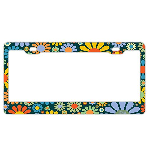 Abstract Hippie Flower License Plate Frame Car Tag Holder Stainless Steel Metal License Plate Frame Humor (Plates Flower License)