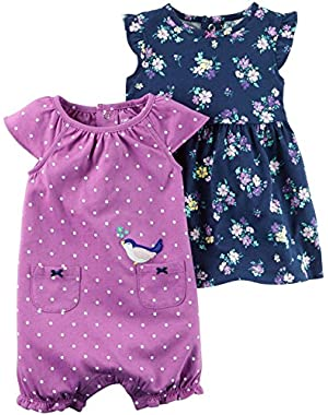 Baby Girls' 2 Piece Floral Dress and Romper Set