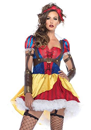 Leg Avenue Women's 3 Piece Rebel Snow White Costume, Multi, ()